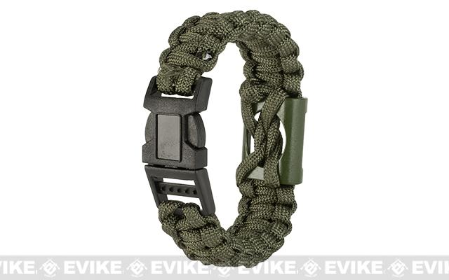 Evike.com Multi-Function Survival Paracord Bottle Opener Bracelet - Olive Drab / 9