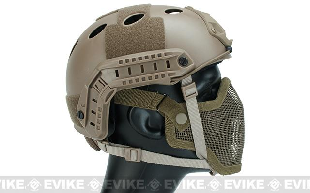 6mmProShop PJ Type Bump Helmet Package with Carbon Gen.1 Strike Mask - Tan
