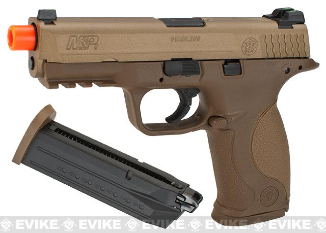 Smith & Wesson Licensed M&P 9 Full Size Airsoft GBB Pistol by VFC - Tan (Package: Add Two Extra Magazine)
