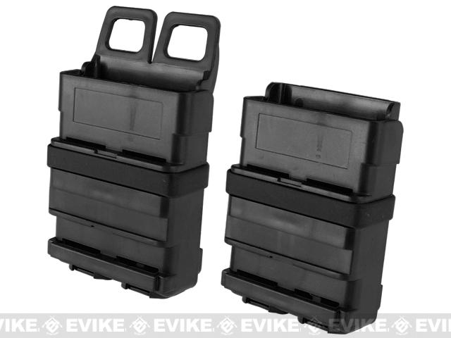 High Speed Molle / Belt Ready Airsoft M4 Mag Carrier - Black / Set of 2
