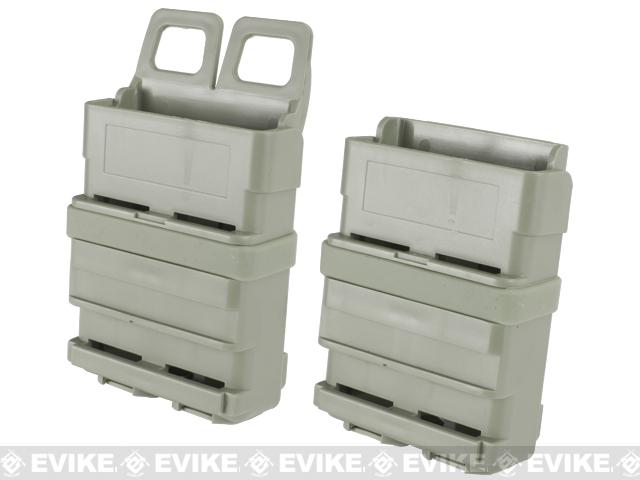 High Speed Molle / Belt Ready Airsoft M4 Mag Carrier - Foliage Green / Set of 2