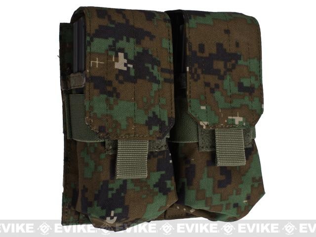 Phantom Gear Modular MOLLE Ready Tactical Double M4 M16 Magazine Pouch - Digital Woodland