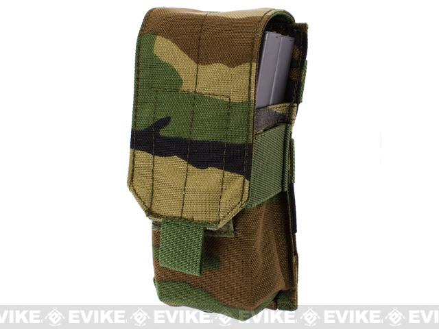 Tactical MOLLE Ready Single M4 M16 Magazine Pouch by Phantom Gear - Woodland Camo