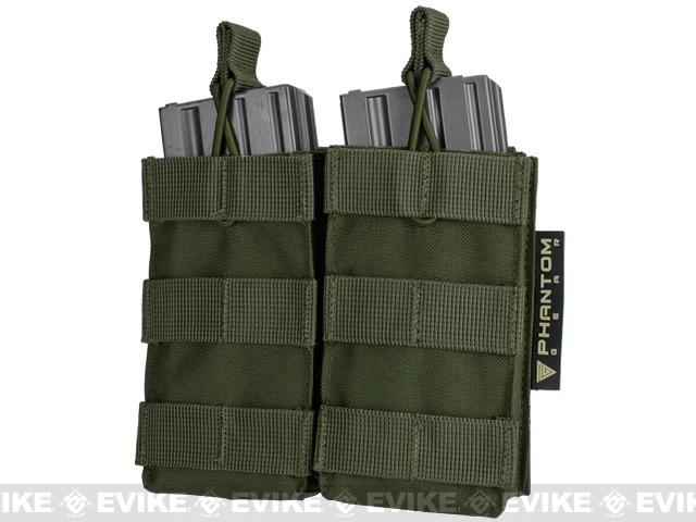 Phantom MOLLE Pouches - Tactical Open Top Dual AR / M4 / M16 Mag Pouch - OD Green