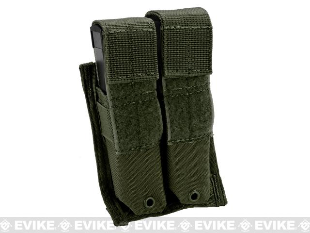 Tactical MOLLE Double Pistol Magazine Pouch - OD Green