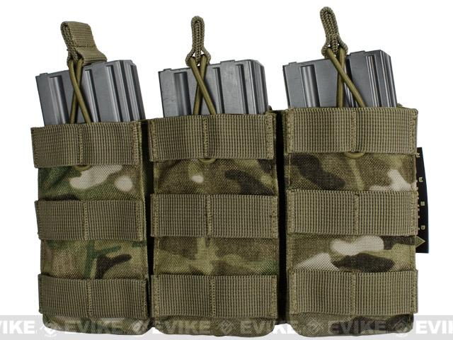 Phantom MOLLE Pouches - Tactical Open Top Triple AR / M4 / M16 Mag Pouch - Multicam