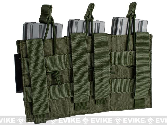Phantom MOLLE Pouches - Tactical Open Top Triple AR / M4 / M16 Mag Pouch - OD Green