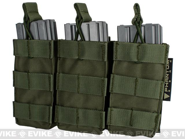 Phantom Tactical Open Top Triple AR / M4 / M16 Mag Pouch - OD Green