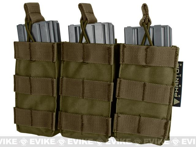 Phantom MOLLE Pouches - Tactical Open Top Triple AR / M4 / M16 Mag Pouch - Tan