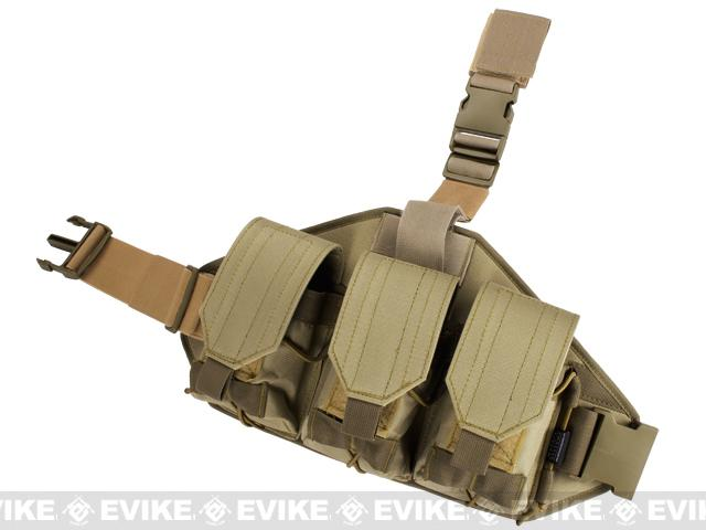 Matrix Triple Magazine Quick Draw Hard Shell Drop Leg Pouch - Tan