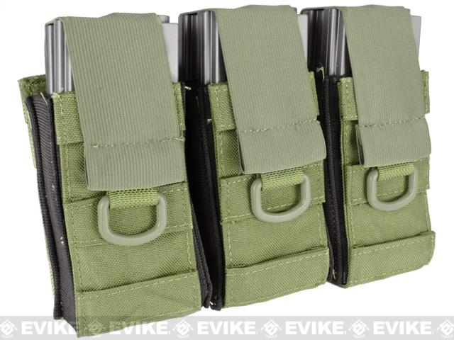 Black Owl Gear / Phantom Aggressor MOLLE Ready M4 AK MP5 Magazine Pouch - Triple (Color: OD Green)