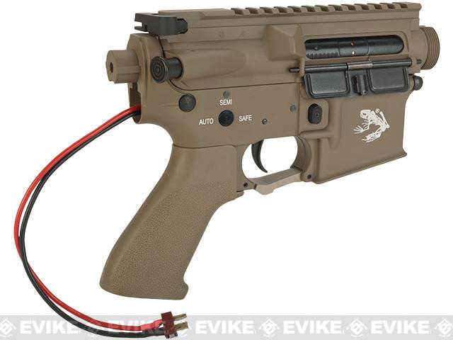 G&P Complete M4 Metal Receiver & Gearbox Airsoft AEG ProKit (Skull Frog) - Rear Wire / Dark Earth