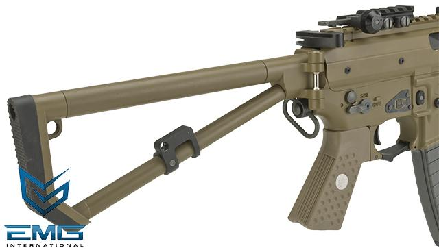 EMG Knights Armament Airsoft PDW M2 Gas Blowback Airsoft Rifle - Tan / Long Barrel (Version: with Green Gas Magazine)
