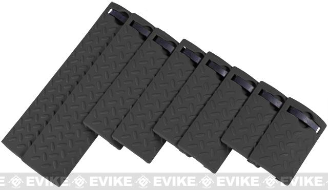 Energy Diamond Plate Rail Covers - Set of 8 (Color: Black)