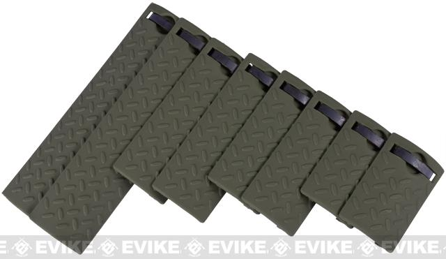 Energy Diamond Plate Rail Covers - Set of 8 (Color: OD Green)