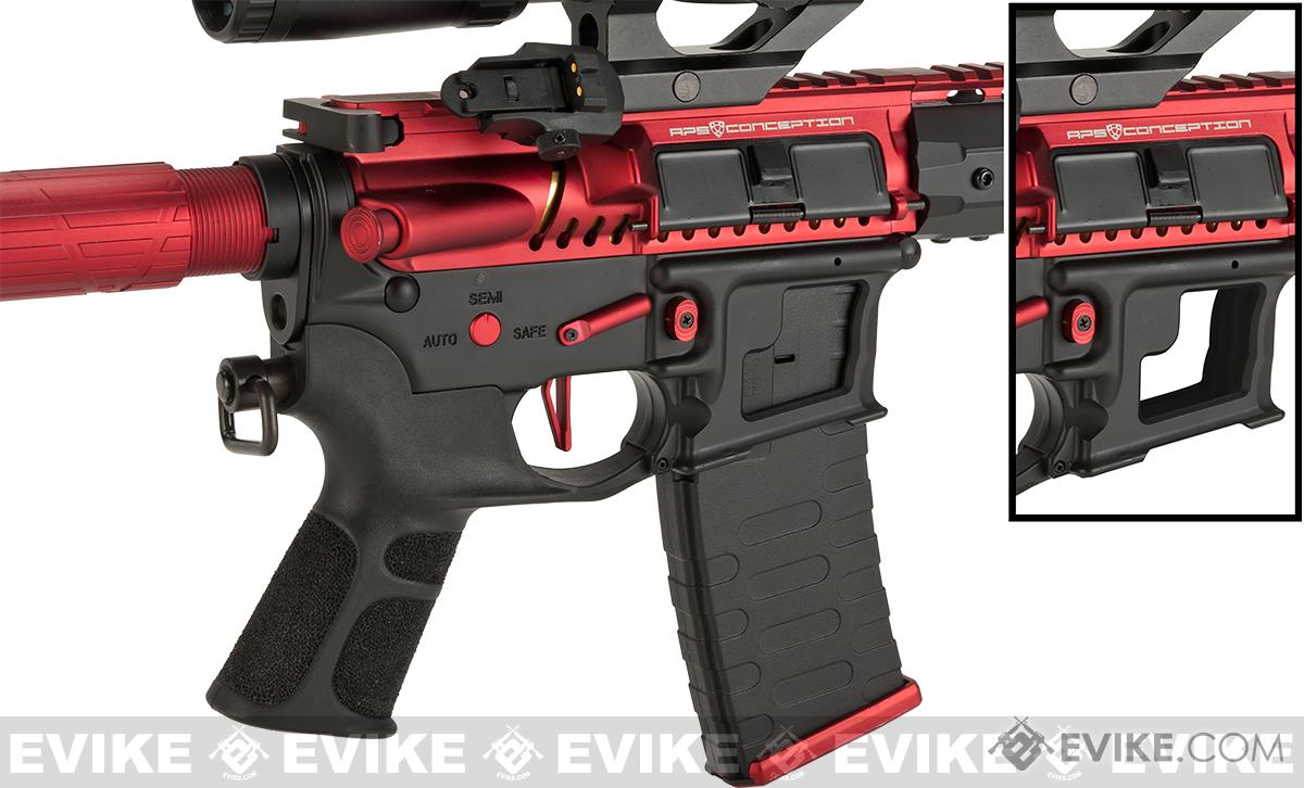 Pre-Order ETA November 2016 APS Limited Edition CNC Machined Red Dragon Custom AEG Rifle w/ Silver Edge Gearbox - Red/Black