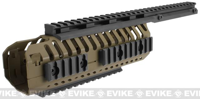 CQB Master CNC Selective Rails System for M4 series Airsoft Rifles - Dark Earth