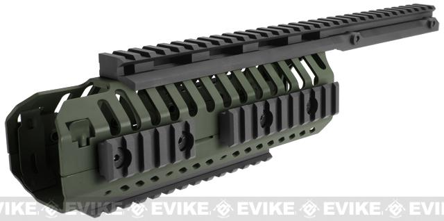 z CQB Master CNC Selective Rails System for M4 series Airsoft Rifles - OD Green