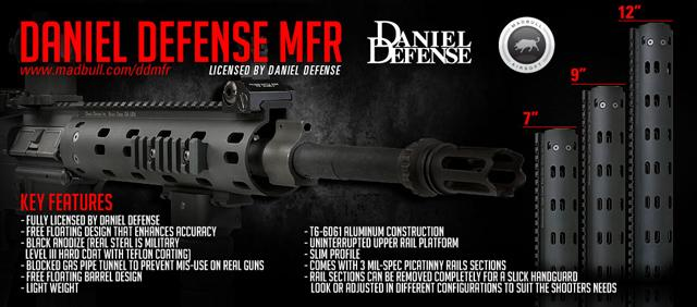 Daniel Defense Licensed MFR 7 RIS for M4 / M16 Airsoft AEG Rifles - Black