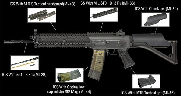 ICS M.R.S. Tactical Quad Rail Handguard for SIG 551 Series Airsoft AEG