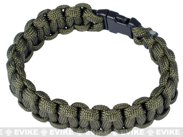 Rothco Survival Paracord Bracelet w/ QD Buckle - (OD Green / 9