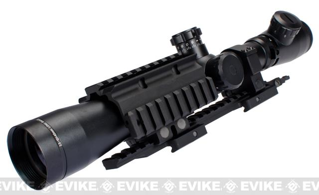 z G&P 3.5-10x45 Illuminated Airsoft Sniper Scope with SR-25 Extension Scope Mount Base and Rail Attachment