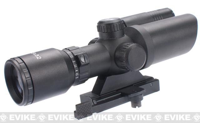 AIM Sports 1.5-5x32 Dual Illuminated Tactical Scope w/ Green Laser - Quick Release Mount
