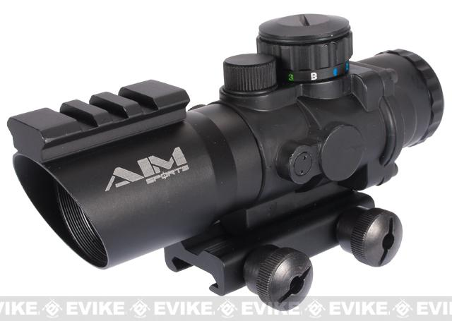 AIM 4x32 Tri-Illuminated Blue Red Green Dot Scope Sight w/ Railed Frame