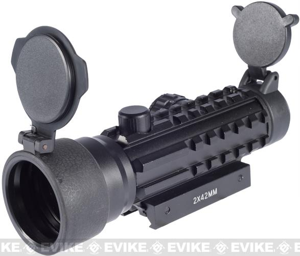 Matrix 2x42 Dual Illuminated Red Green Dot Scope with Triple Rails