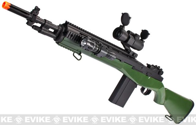 z TSD M14 Soc16 Full Size Airsoft Sniper Rifle w/ Red Dot and Flashlight - OD Green