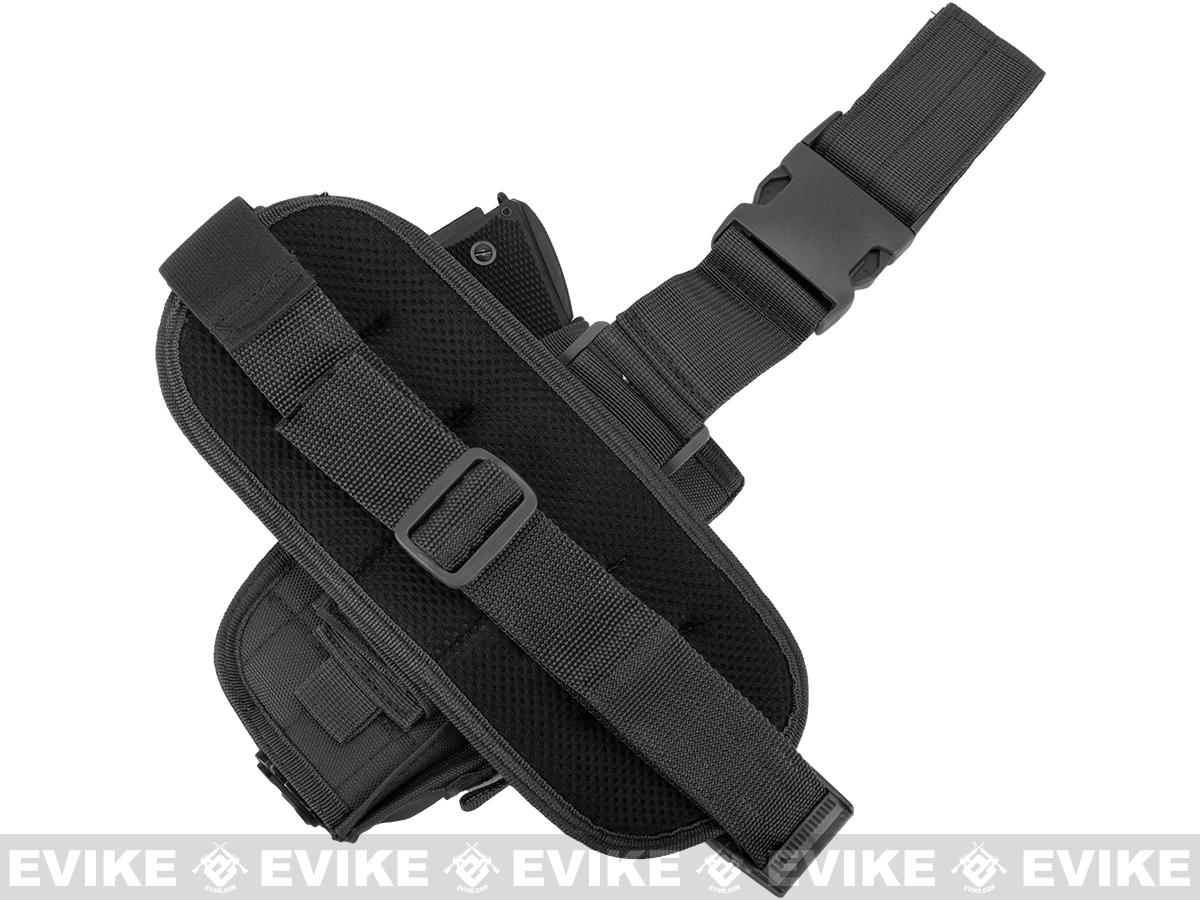 Matrix Special Force Quick Draw Tactical Thigh Holster w/ Drop Leg Panel (Black / Left Leg)