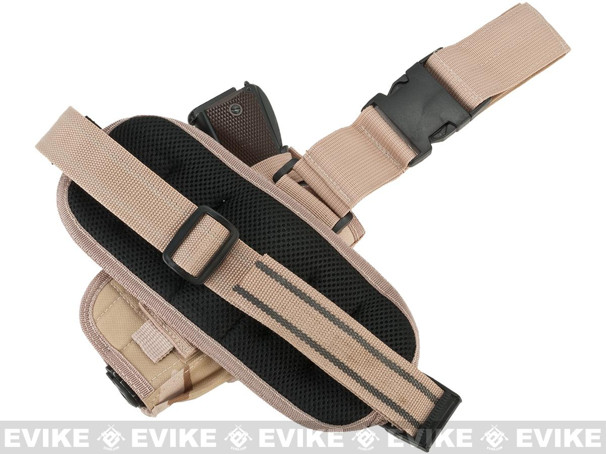 z Matrix Special Force Quick Draw Tactical Thigh Holster with Drop Leg Panel (Desert Camo / Left)