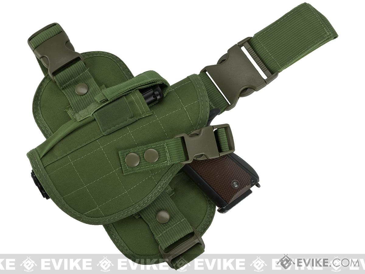 Matrix Special Force Quick Draw Tactical Thigh Holster w/ Drop Leg Panel (OD Green / Left Leg)