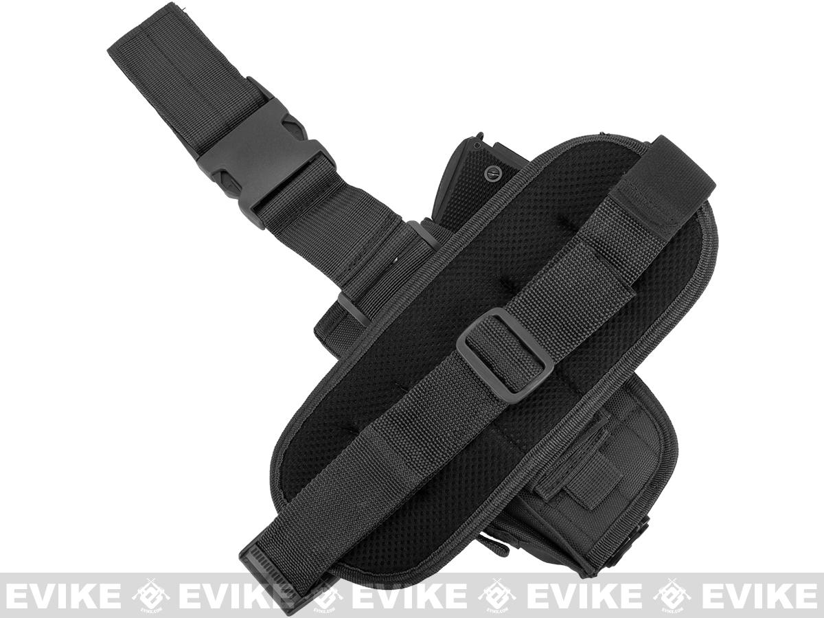 Matrix Special Force Quick Draw Tactical Thigh Holster w/ Drop Leg Panel (Black / Right)