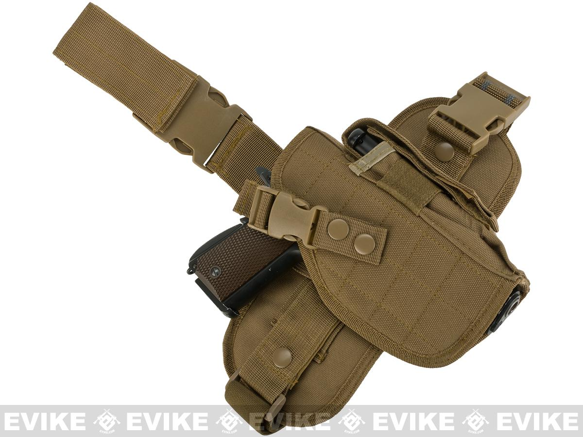 Matrix Special Force Quick Draw Tactical Thigh Holster w/ Drop Leg Panel (Coyote Tan / Right)