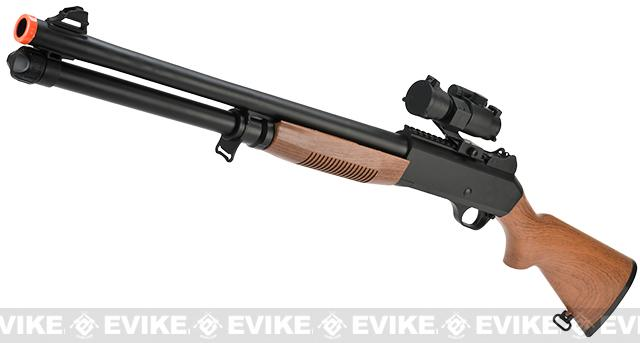 JG / AGM M3 Tactical Shell Loading Full Stock Airsoft Shotgun with Scope (350~400 FPS) - Imitation Wood