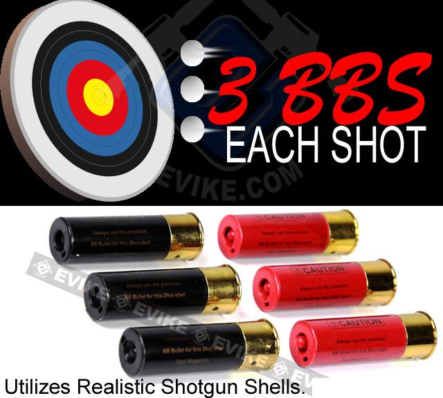 M3 3-Round Burst Multi-Shot Shell Loading Airsoft Riot Shotgun - Retractable Stock / CQC Barrel
