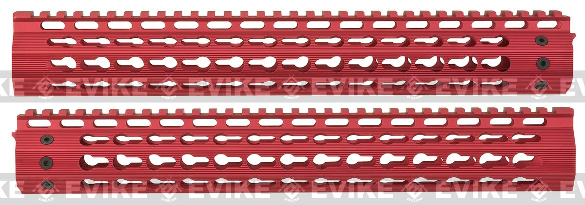 Strike Industries Gen 2. 13 Mega Fins Free Float Drop-In Keymod Handguard for M4 / M16 / AR15 Series Rifles - Red