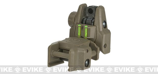 Dual-Profile Rhino Fiber Optic Flip-up Rifle / SMG Sight by Evike - Rear Sight / Dark Earth