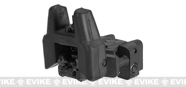 Dual-Profile Rhino Fiber Optic Flip-up Rifle / SMG Sight by Evike - Rear Sight / Black