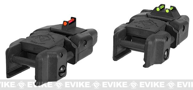 Dual-Profile Rhino Fiber Optic Flip-up Rifle / SMG Sight by Evike - Front & Rear / Black