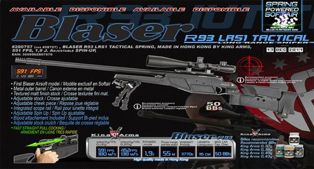 King Arms Bolt Action Blaser R93 LRS1 Tactical Airsoft Sniper Rifle