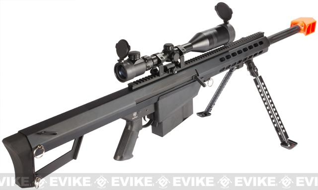 Snow Wolf Custom Long Range Airsoft AEG Sniper Rifle (V.2 Gearbox) - Black / Short Barrel (Package: Add 3-9x50 Scope)
