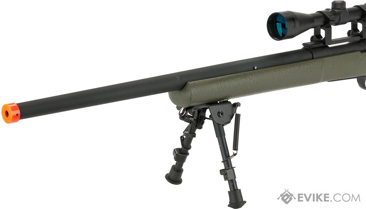 Snow Wolf USMC M24 Military Airsoft Bolt Action Scout Sniper Rifle - OD Green (Package: Add ~600 FPS Upgrade + 3-9x40 Scope + Bipod)