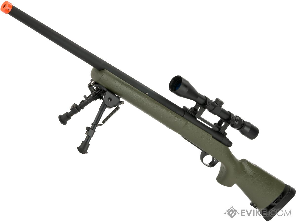 Snow Wolf US Army M24 Military Airsoft Bolt Action Scout Sniper Rifle (Package: OD Green / Add ~600 FPS Upgrade + 3-9x40 Scope + Bipod)