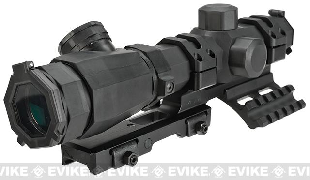 NcSTAR 1.1-4X20 Rubber Armored Blue & Red Illuminated Rifle Scope w/ SPR Mount - Mil-Dot