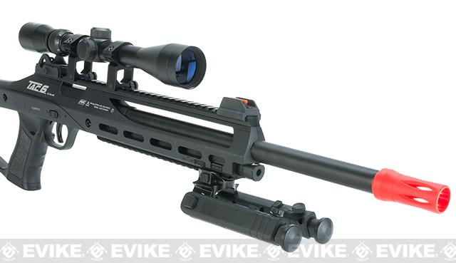 ASG TAC6 CO2 Powered Airsoft Sniper Rifle with Bipod and Integrated Laser - Black