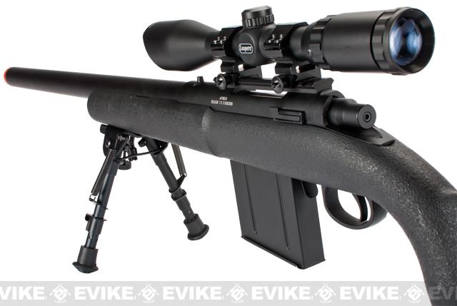APS M50 Shell Ejecting Co2 Powered Airsoft Gas Sniper Rifle (Model: 390~450 FPS / Black)