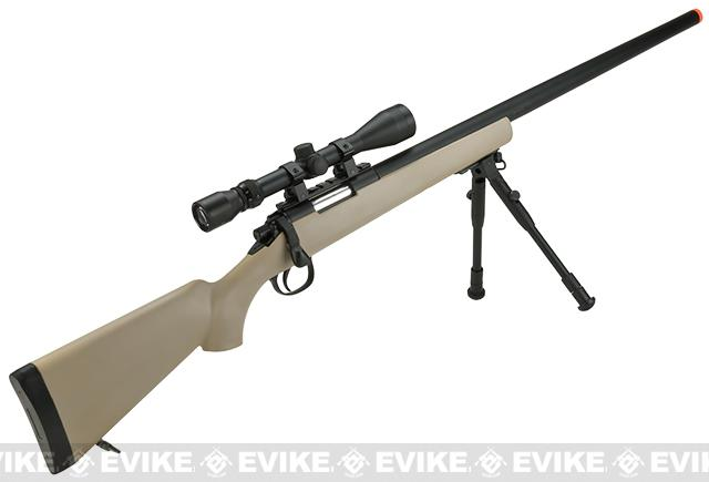 Pre-Order ETA September 2016 Matrix VSR-10 MB03 Bolt Action Airsoft Sniper Rifle by WELL - Desert (Package: Add Bipod)