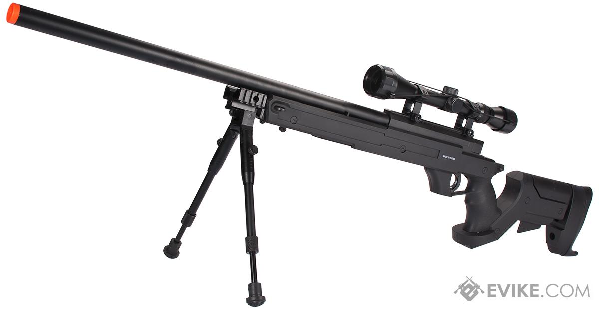 WELL MB04 APS Bolt Action Airsoft Sniper Rifle - ~490 FPS (Package: Add 3-9x40 Scope + Bipod)